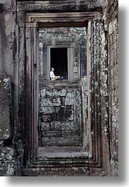 angkor thom, asia, bayon, cambodia, men, sitting, vertical, windows, photograph