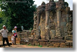 angkor thom, asia, cambodia, elephant terrace, elephants, horizontal, people, stones, walls, photograph