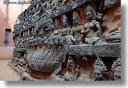 angkor thom, asia, cambodia, horizontal, leper king terrace, statues, womens, photograph
