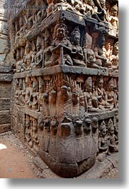 angkor thom, asia, cambodia, leper king terrace, nagas, statues, vertical, photograph