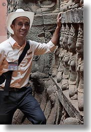 angkor thom, asia, cambodia, guides, leper king terrace, statues, tours, vertical, photograph