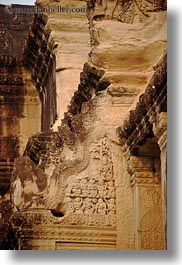 angkor wat, asia, bas reliefs, cambodia, carvings, corner, vertical, photograph