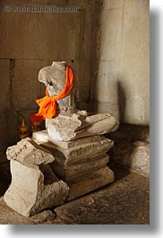 angkor wat, asia, buddhas, cambodia, scarves, sitting, vertical, photograph