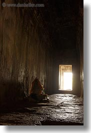 angkor wat, asia, bright, cambodia, dark, doors, halls, slow exposure, vertical, photograph