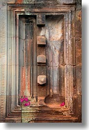 angkor wat, asia, cambodia, doors, false, flowers, vertical, photograph
