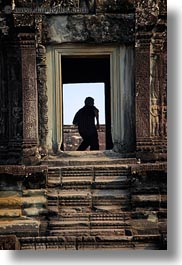 angkor wat, asia, cambodia, doors, silhouettes, vertical, walking, photograph