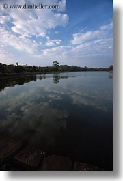 angkor wat, asia, cambodia, clouds, moat, reflecting, vertical, photograph
