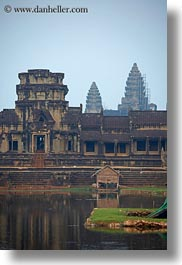 angkor wat, asia, cambodia, entrance, moat, towers, vertical, photograph