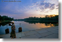 angkor wat, asia, cambodia, carrying, horizontal, moat, stuff, sunrise, womens, photograph