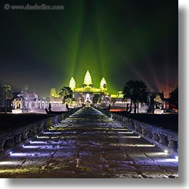 angkor wat, asia, cambodia, green, illuminated, long exposure, nite, paths, square format, squares, stones, towers, photograph