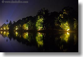angkor wat, asia, cambodia, horizontal, long exposure, moat, nite, reflections, trees, photograph