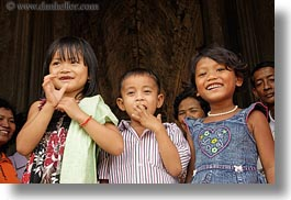 angkor wat, asia, cambodia, childrens, happy, horizontal, people, photograph