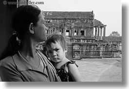 angkor wat, asia, black and white, cambodia, childrens, horizontal, mothers, people, photograph