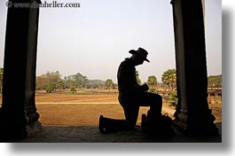 angkor wat, asia, cambodia, cowboys, horizontal, men, people, photographers, silhouettes, photograph