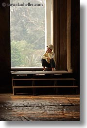 angkor wat, asia, cambodia, doorways, men, people, sitting, sleeping, vertical, photograph