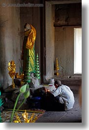 altar, angkor wat, asia, cambodia, candles, men, people, vertical, photograph