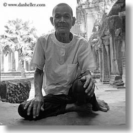 angkor wat, asia, black and white, cambodia, men, old, people, square format, photograph