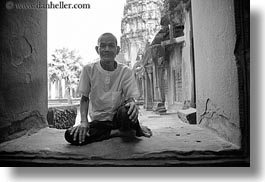 angkor wat, asia, black and white, cambodia, horizontal, men, old, people, windows, photograph