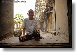 angkor wat, asia, cambodia, horizontal, men, old, people, windows, photograph