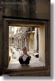 angkor wat, asia, cambodia, men, old, people, vertical, windows, photograph