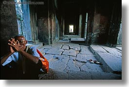 angkor wat, asia, cambodia, horizontal, men, old, people, praying, photograph