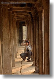 angkor wat, asia, cambodia, men, people, photographers, stooping, vertical, photograph