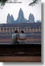 angkor wat, asia, branches, cambodia, couples, people, towers, vertical, photograph