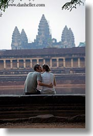angkor wat, asia, cambodia, couples, kissing, people, towers, vertical, photograph
