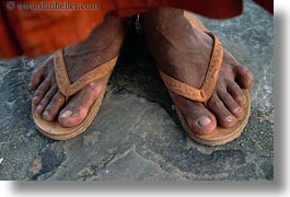 angkor wat, asia, cambodia, feet, horizontal, monks, people, sandals, photograph