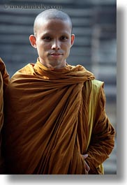 angkor wat, asia, browns, cambodia, monks, people, robes, vertical, photograph