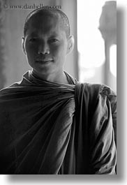 angkor wat, asia, black and white, browns, cambodia, monks, people, robes, vertical, photograph
