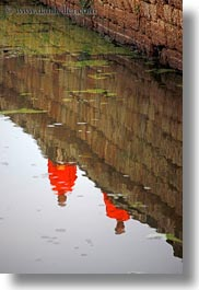 angkor wat, asia, cambodia, monks, people, reflections, vertical, photograph
