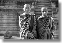 angkor wat, asia, black and white, browns, cambodia, horizontal, monks, people, robes, two, photograph