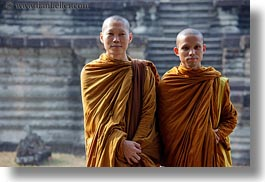 angkor wat, asia, browns, cambodia, horizontal, monks, people, robes, two, photograph