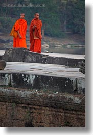 angkor wat, asia, cambodia, monks, people, two, vertical, walking, photograph