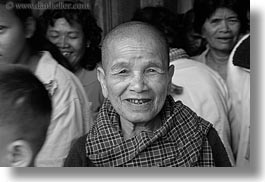 angkor wat, asia, black and white, cambodia, horizontal, old, people, womens, photograph