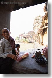 angkor wat, asia, cambodia, old, people, vertical, womens, photograph