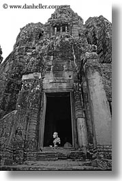 angkor wat, asia, black and white, cambodia, doorways, old, people, vertical, womens, photograph