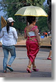 angkor wat, asia, cambodia, dresses, people, traditional, umbrellas, vertical, womens, photograph