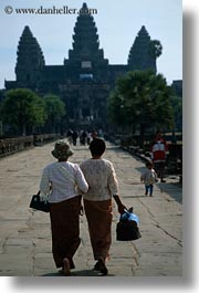 angkor wat, asia, cambodia, people, two, vertical, walking, womens, photograph