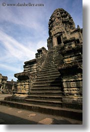 angkor wat, asia, cambodia, stairs, towers, vertical, photograph