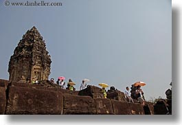 asia, bakong, cambodia, horizontal, japanese, tourists, umbrellas, photograph