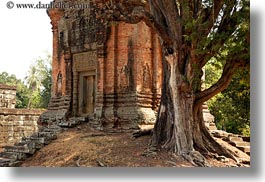 asia, bakong, bricks, cambodia, horizontal, temples, trees, photograph