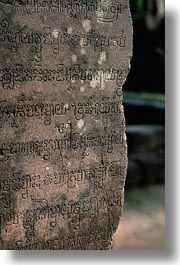 asia, banteay srei, bas reliefs, cambodia, cambodian, etched, text, vertical, photograph