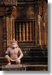 asia, banteay srei, bas reliefs, cambodia, monkeys, reproductions, vertical, photograph
