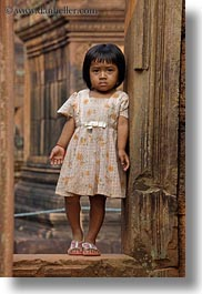 asia, banteay srei, cambodia, doorways, girls, people, vertical, photograph