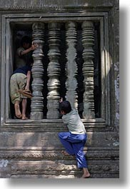 asia, beng mealea, boys, cambodia, vertical, windows, photograph