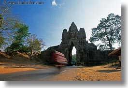 asia, bicycles, blur, cambodia, gates, horizontal, motion, motion blur, south gate, photograph