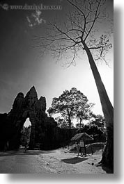 asia, black and white, cambodia, gates, silhouettes, south gate, vertical, photograph