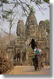 asia, cambodia, couples, elephants, gates, japanese, south gate, vertical, photograph